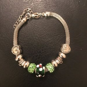 Heart Charm Bracelet with Green Beads (adjustable)